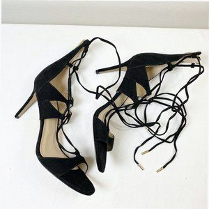 Marc Fisher Benete Black Suede Lace Up Heels 8M